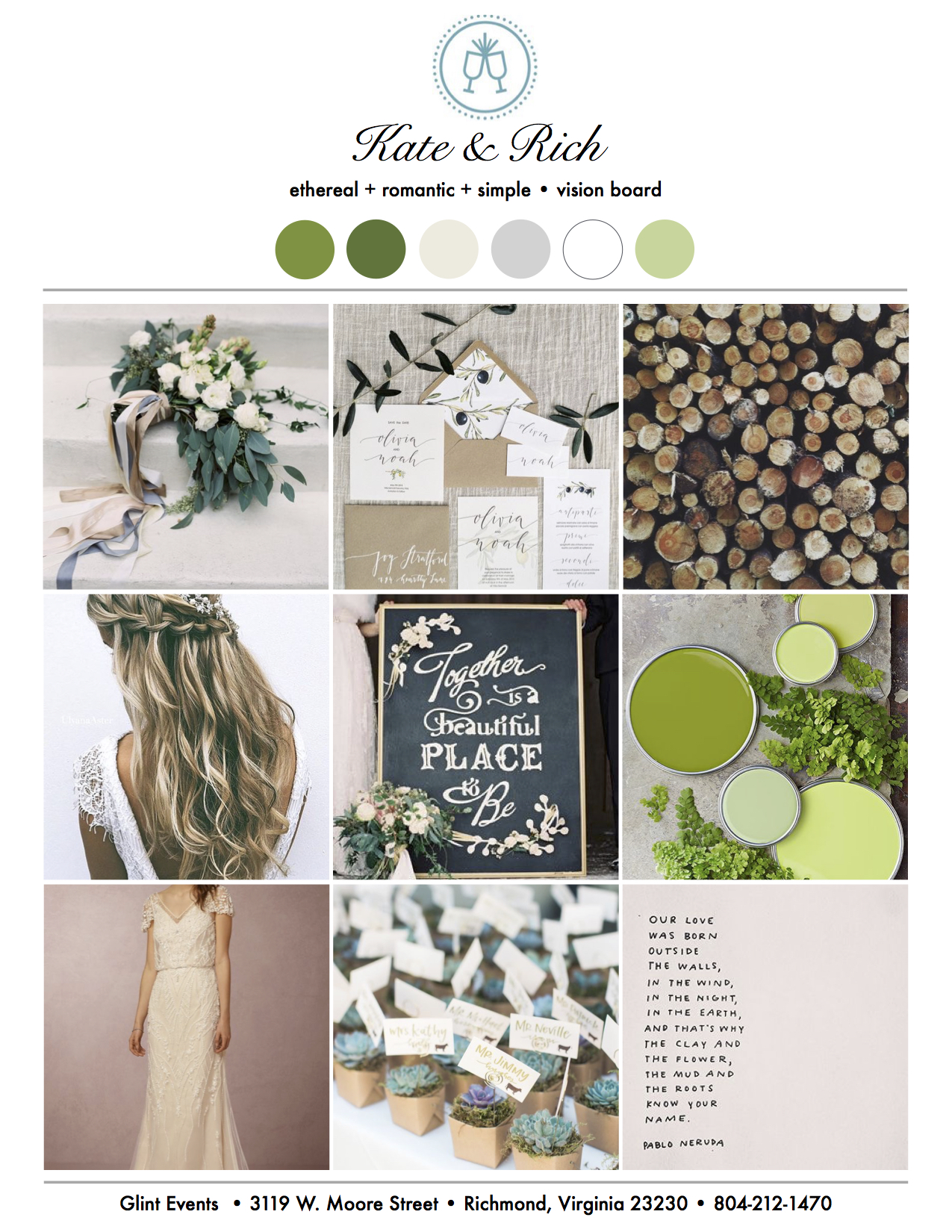 Glintspiration Spring Wedding Vision Board